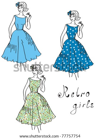 Vintage girls in floral dresses set - stock vector