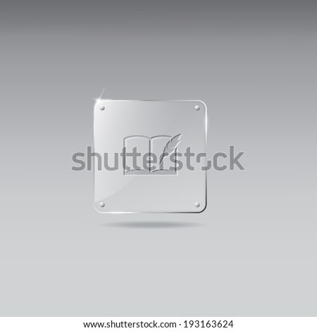Vintage glass framework with book icon - stock vector