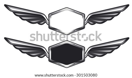 vintage glossy shields with copy space - stock vector