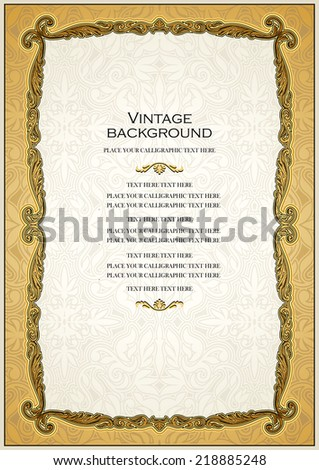 Vintage gold background, antique style frame, Victorian ornament, beautiful brochure, certificate, award's and diploma's layout, book cover, floral luxury ornamental pattern, achievement template - stock vector