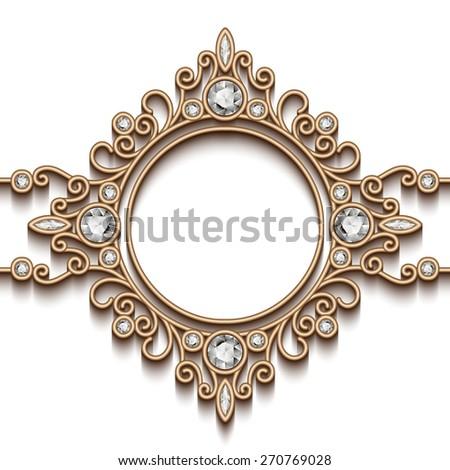 Vintage gold background, diamond vignette, vector jewelry frame, eps10 - stock vector