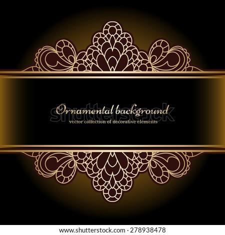 Vintage gold  background, divider, header, ornamental lacy vector frame - stock vector
