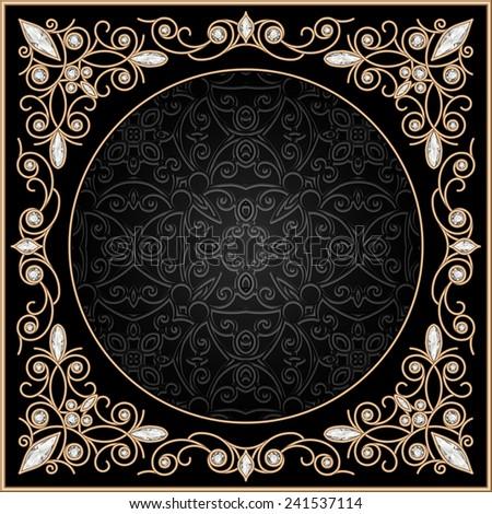 Vintage gold background, elegant filigree vector jewelry frame, eps10 - stock vector