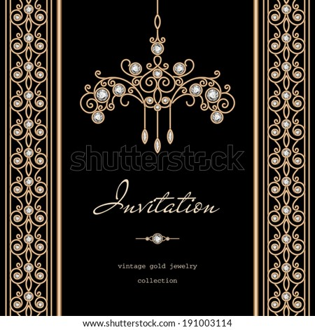 Vintage gold background, invitation template, vector jewelry frame with seamless borders on black, eps10 - stock vector
