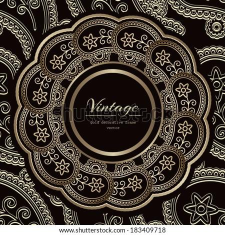 Vintage gold background, ornamental label, vector round frame over pattern - stock vector