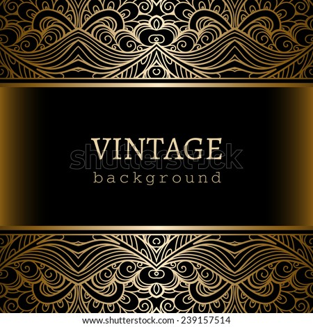 Vintage gold background, ornamental vector frame with seamless lace borders - stock vector