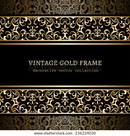 Vintage gold background, ornamental vector frame with swirly borders over pattern - stock vector