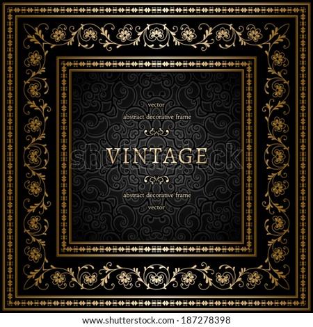 Vintage gold background, square ornamental frame, vector eps10 - stock vector