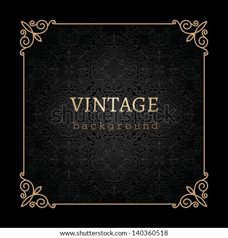 Vintage gold background, vector antique frame on black - stock vector