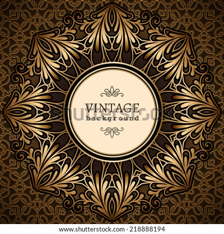 Vintage gold background, vector circle frame over pattern - stock vector