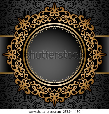 Vintage gold background, vector circle frame over pattern - stock vector