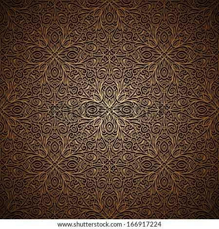 Vintage gold background, vector filigree seamless pattern - stock vector