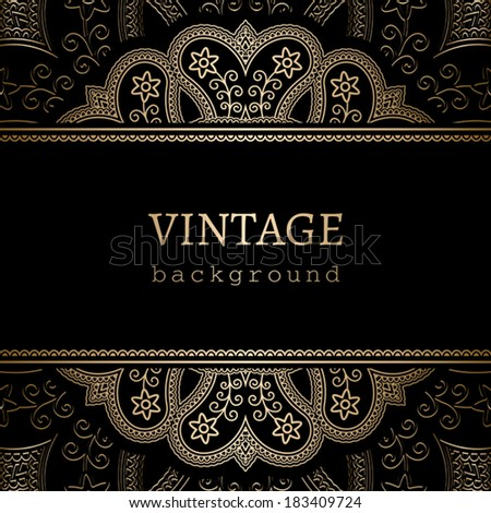 Vintage gold background, vector frame over round golden ornament - stock vector