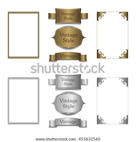 Vintage gold background, vector gold and silver metal frames and ribbons. - stock vector