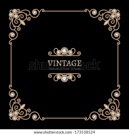 Vintage gold background, vector jewelry frame on black, eps10 - stock vector