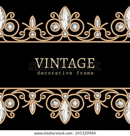 Vintage gold background, vector jewelry frame with seamless borders on black, eps10 - stock vector