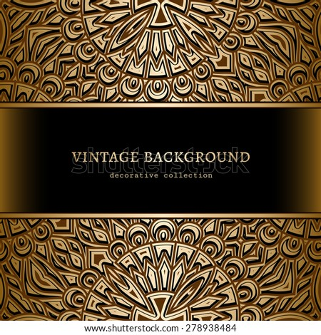 Vintage gold background, vector ornamental frame with golden borders - stock vector