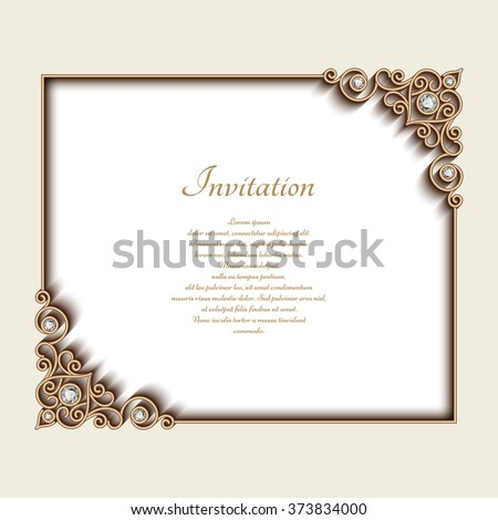 Vintage gold background, vector rectangle jewelry frame with ornamental corners, greeting card or invitation template, eps10 - stock vector