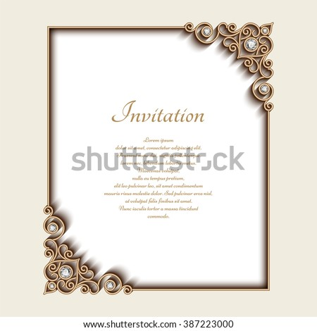 Vintage gold background vector rectangle jewelry stock vector vintage gold background vector rectangle jewelry frame with ornamental corners greeting card or invitation stopboris Images