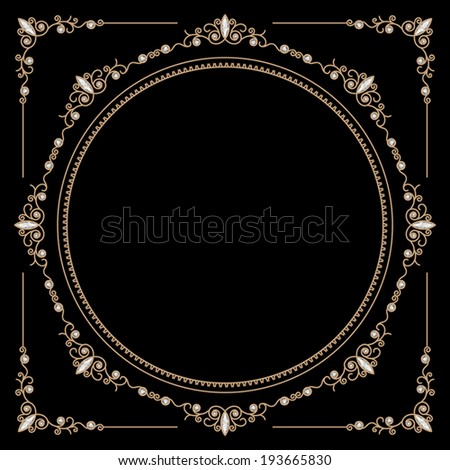 Vintage gold background, vector round jewelry frame and corners on black, eps10 - stock vector