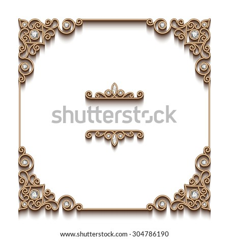 Vintage gold background, vector square frame, antique jewelry vignette on white, eps10 - stock vector