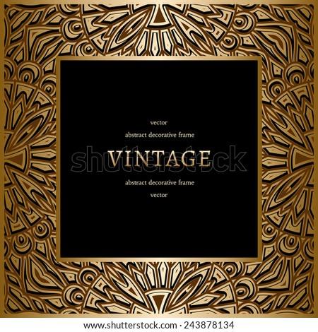 Vintage gold background, vector square ornamental frame on black - stock vector