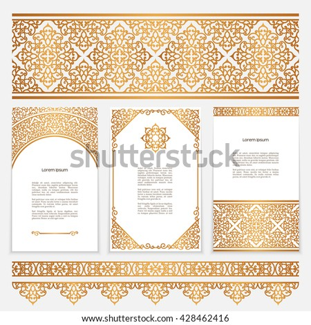 Vintage gold borders frames arabic style stock vector royalty free vintage gold borders and frames in arabic style vector set of scroll embellishment on white stopboris Images