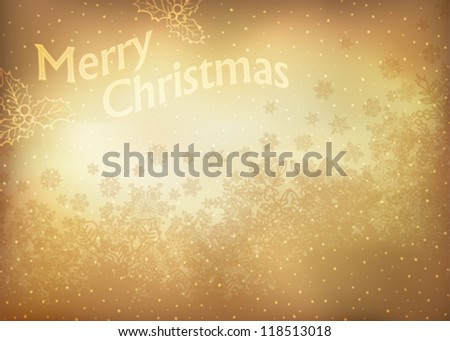 Vintage gold Christmas Greeting card.  Vector illustration, EPS10.