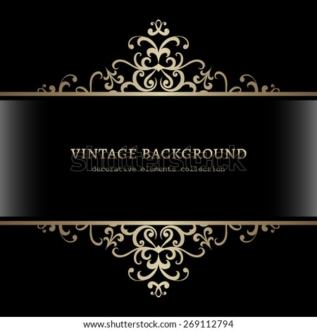 Vintage gold decoration on black background, divider, header, ornamental vector frame - stock vector
