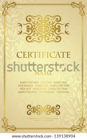 Vintage gold frame on a floral background. Retro style. Can be used as certificate - stock vector