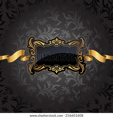 Vintage gold frame on black damask background. Vector illustration.  - stock vector