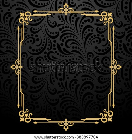 Vintage gold frame on the black background. Damascus antique ornament. - stock vector