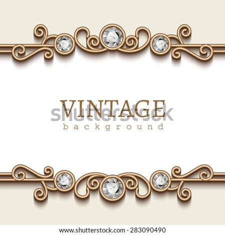 Vintage gold frame on white, divider element, elegant vector background with jewelry borders, eps10