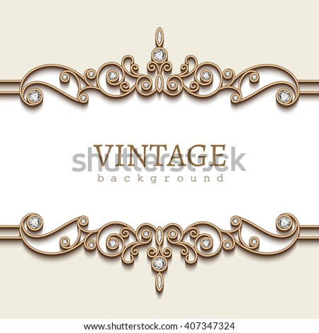 Vintage gold frame on white, divider element, elegant vector background with jewelry gold borders, eps10 - stock vector