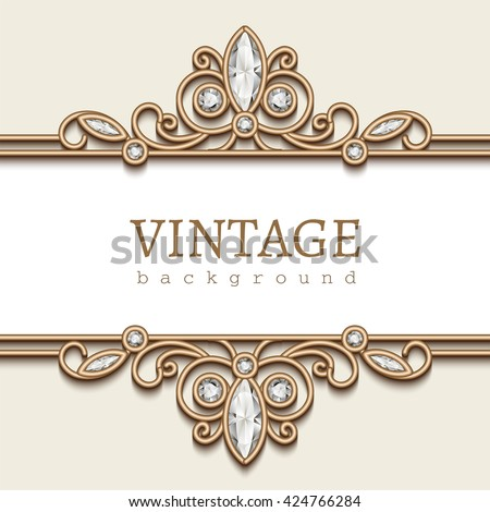 Vintage gold frame on white, jewellery divider element, elegant vector background with diamond jewelry borders - stock vector