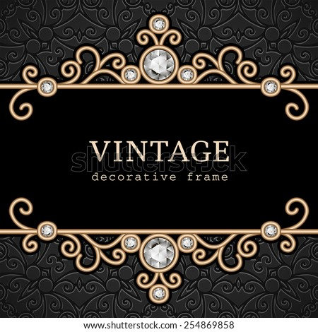 Vintage gold frame, vector jewelry background, eps10 - stock vector