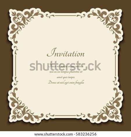 Vintage gold frame floral corner patterns stock vector 583236256 vintage gold frame with floral corner patterns cutout paper sticker vector announcement or wedding stopboris Images