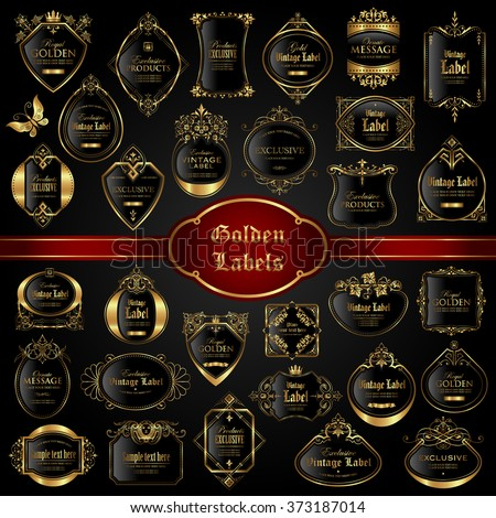 Vintage gold framed labels - vector set
