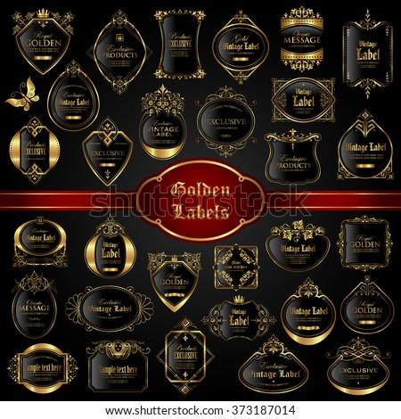 Vintage gold framed labels - vector set - stock vector