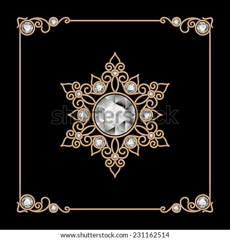 Vintage gold jewelry snowflake, brooch, diamond decoration on black, vector eps10