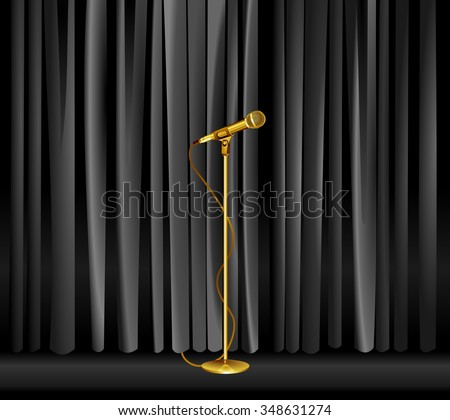 Vintage gold microphone against black curtain backdrop. old mic on empty theater stage, vector art image illustration. stand up comedian night show or karaoke party background. realistic retro design - stock vector