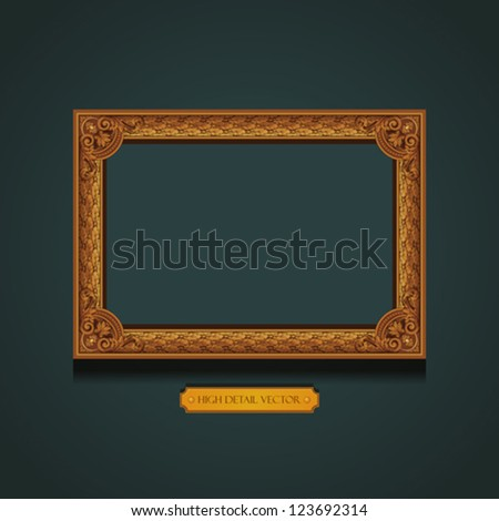 Vintage Gold picture Frame on the wall. Floral ornament.  Extremely high detail Vector. Copyspace. Luxury. - stock vector