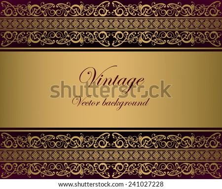 Vintage gold vector background - stock vector