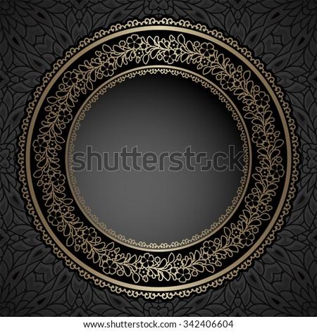 Vintage gold vector background, circle frame, ornamental label on pattern - stock vector