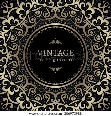 Vintage gold vector background, ornamental frame with circle hole over pattern - stock vector