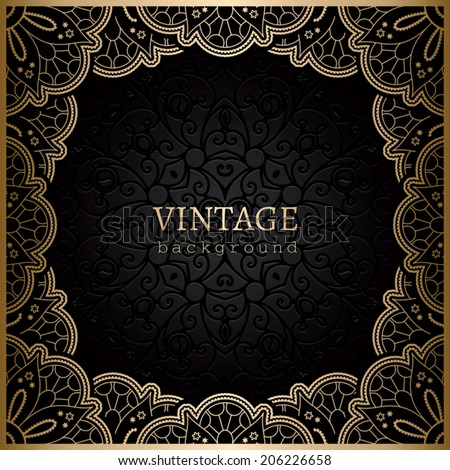 Vintage gold vector background, square ornamental lace frame - stock vector