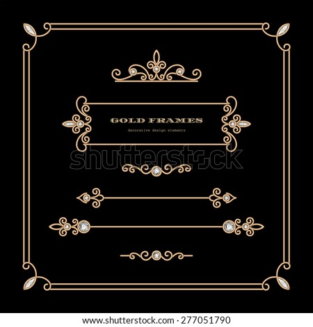 Vintage gold vignettes and dividers in square frame, vector set of decorative design elements  - stock vector