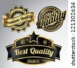 vintage golden black premium quality labels - stock vector