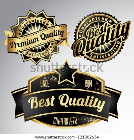 vintage golden black premium quality labels - stock vector