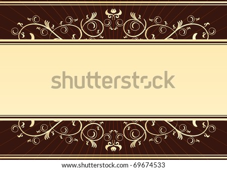 vintage golden card - stock vector